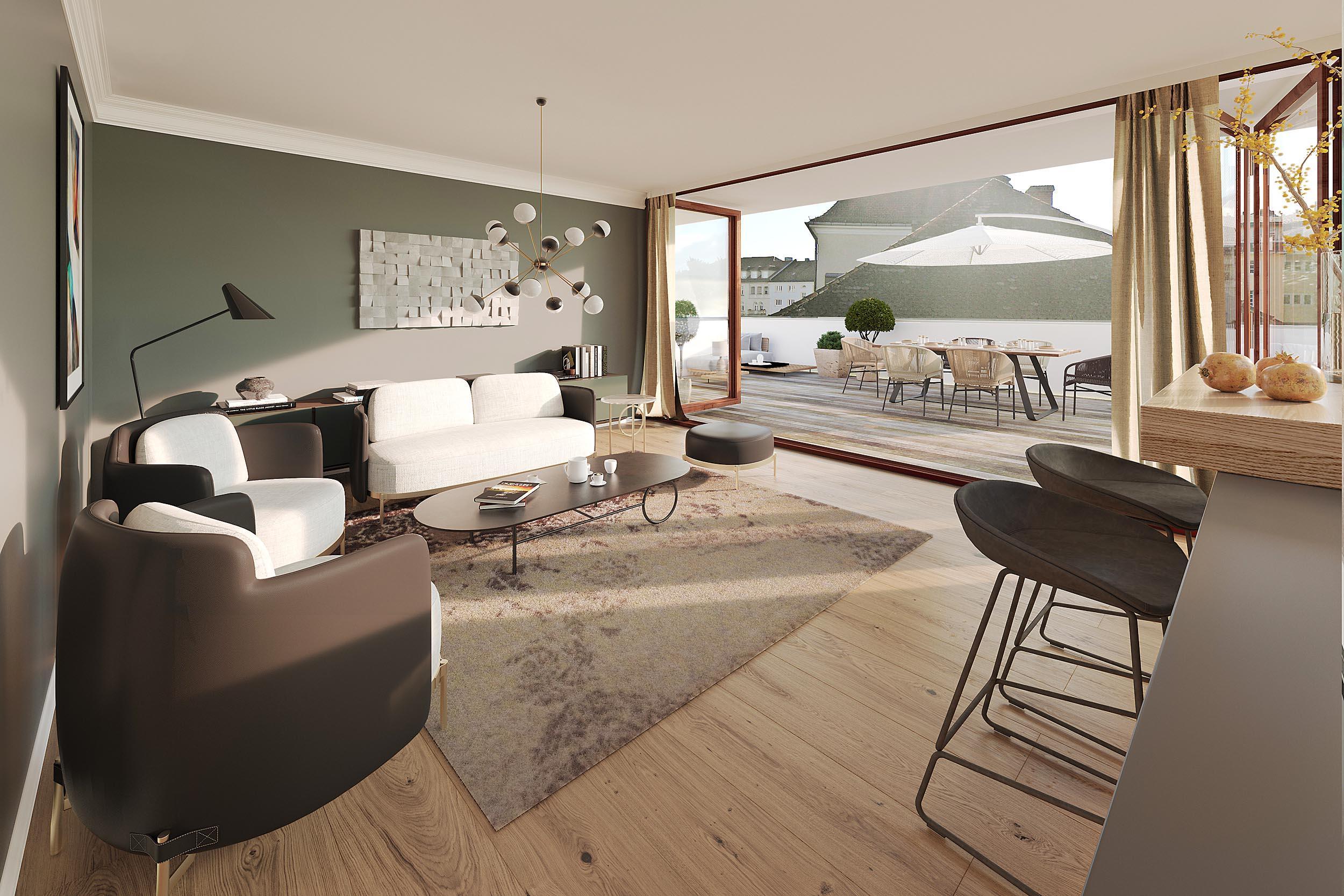 3d Visualisierung Real Estate Penthouse Kepplerstr. München