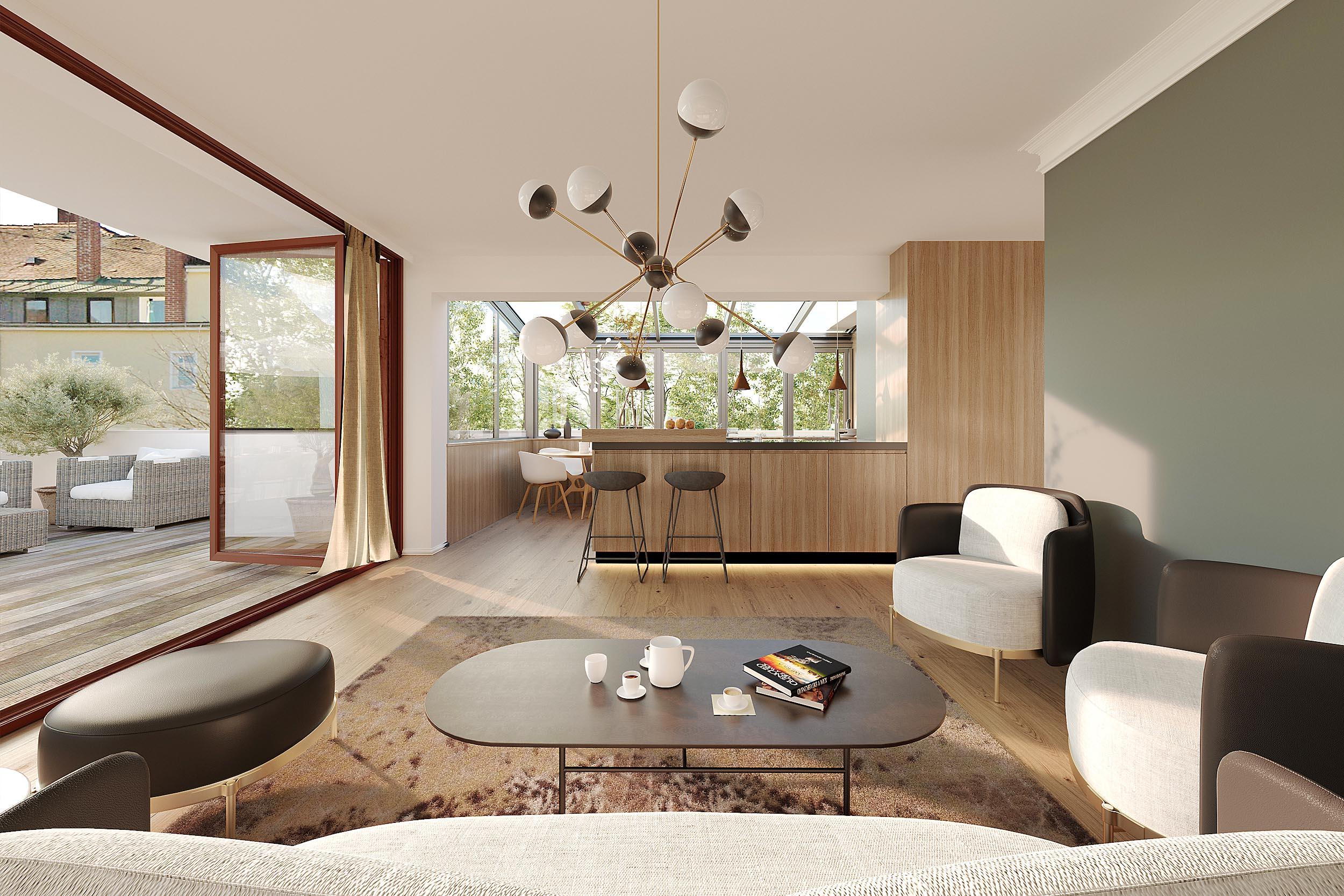 3d Visualisierung Architektur Penthouse Kepplerstr. München