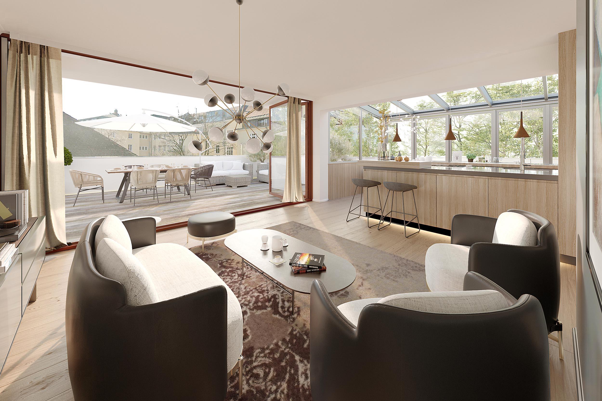 Terrasse Visualisierung Penthouse Kepplerstr. München