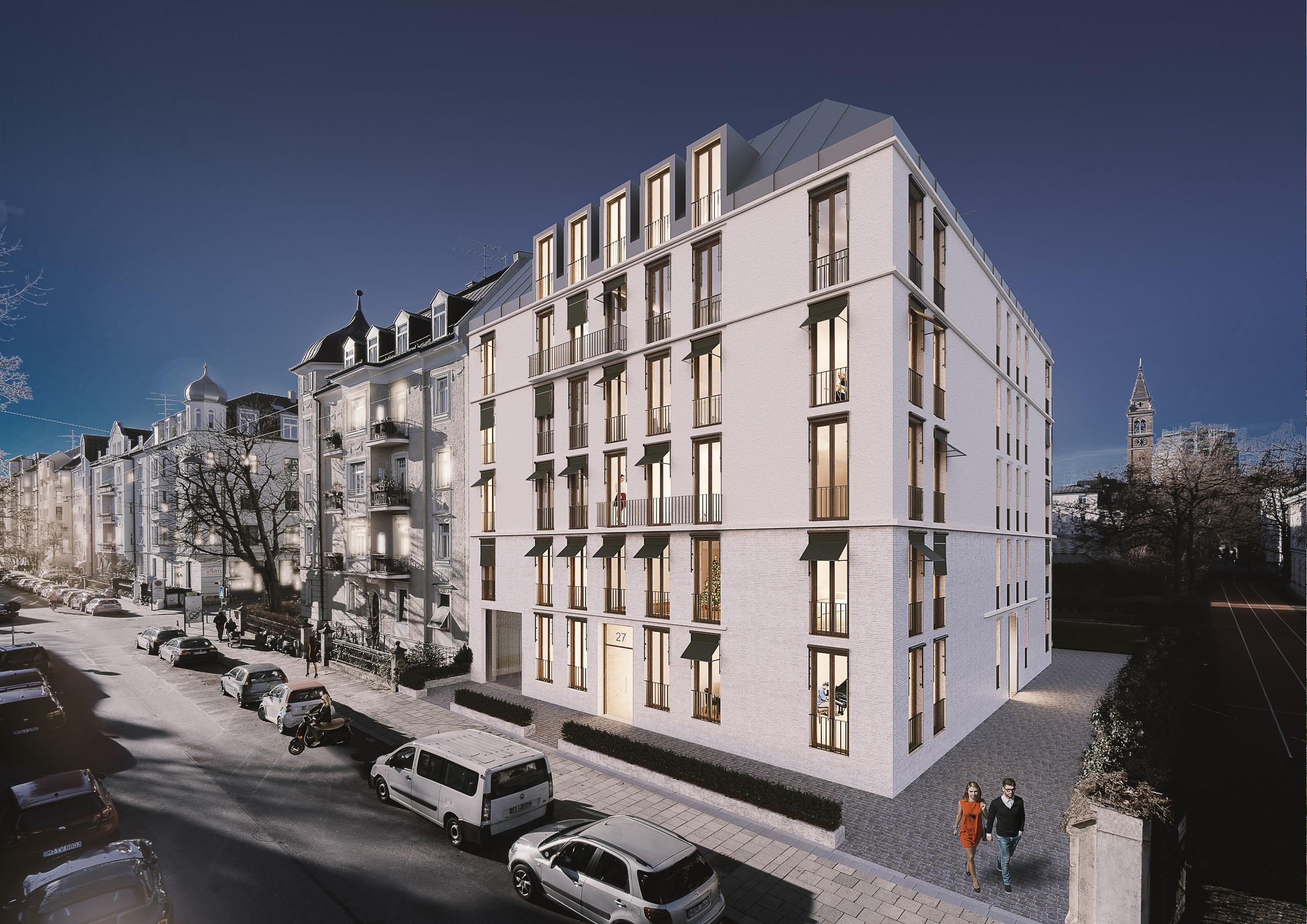 Architektur Rendering Wohngebäude in Schwabing
